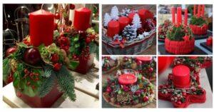 Usando velas rojas puedes crear bellos arreglos navideños