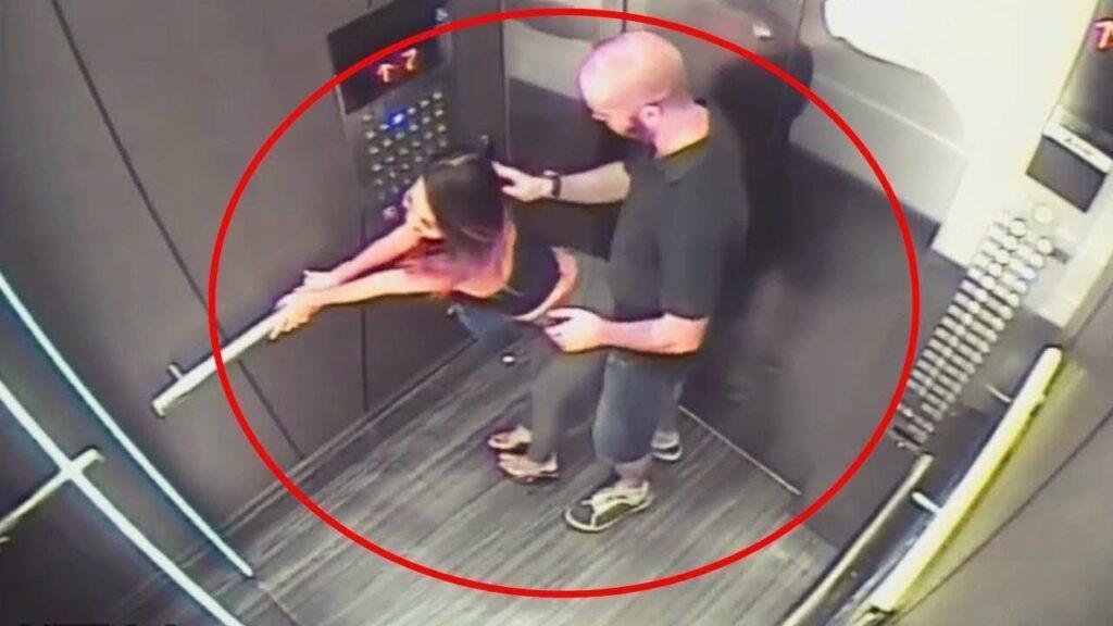 Pareja es captada en un ascensor y no se dieron cuenta de que les grababan