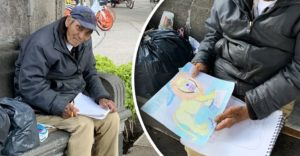 Abuelito hace dibujos para ganarse la vida en plena pandemia