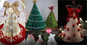 Árbol navideño con hojas de revistas